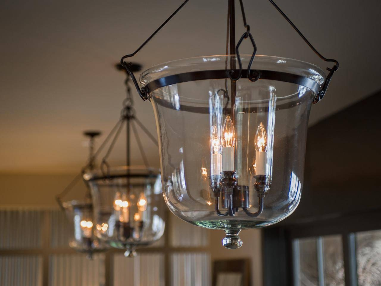 Interior. Foyer Light With Black Copper Glass Lantern Chandelier for Entry Hall Pendant Lighting (Image 10 of 15)