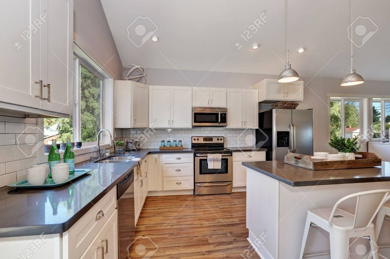 Interior Of Kitchen With High Vaulted Ceiling, Pendant Lights inside Pendant Lights for Vaulted Ceilings (Image 7 of 15)