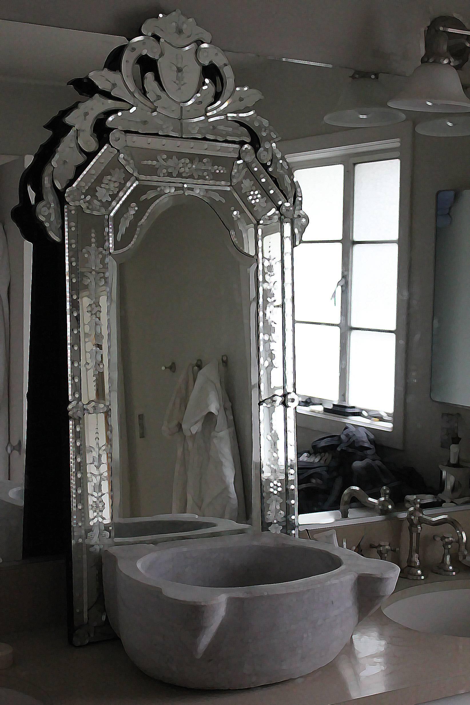 Interior: Venetian Beaded Leaner Mirror Venetian Mirror Large for Large Venetian Wall Mirrors (Image 5 of 15)
