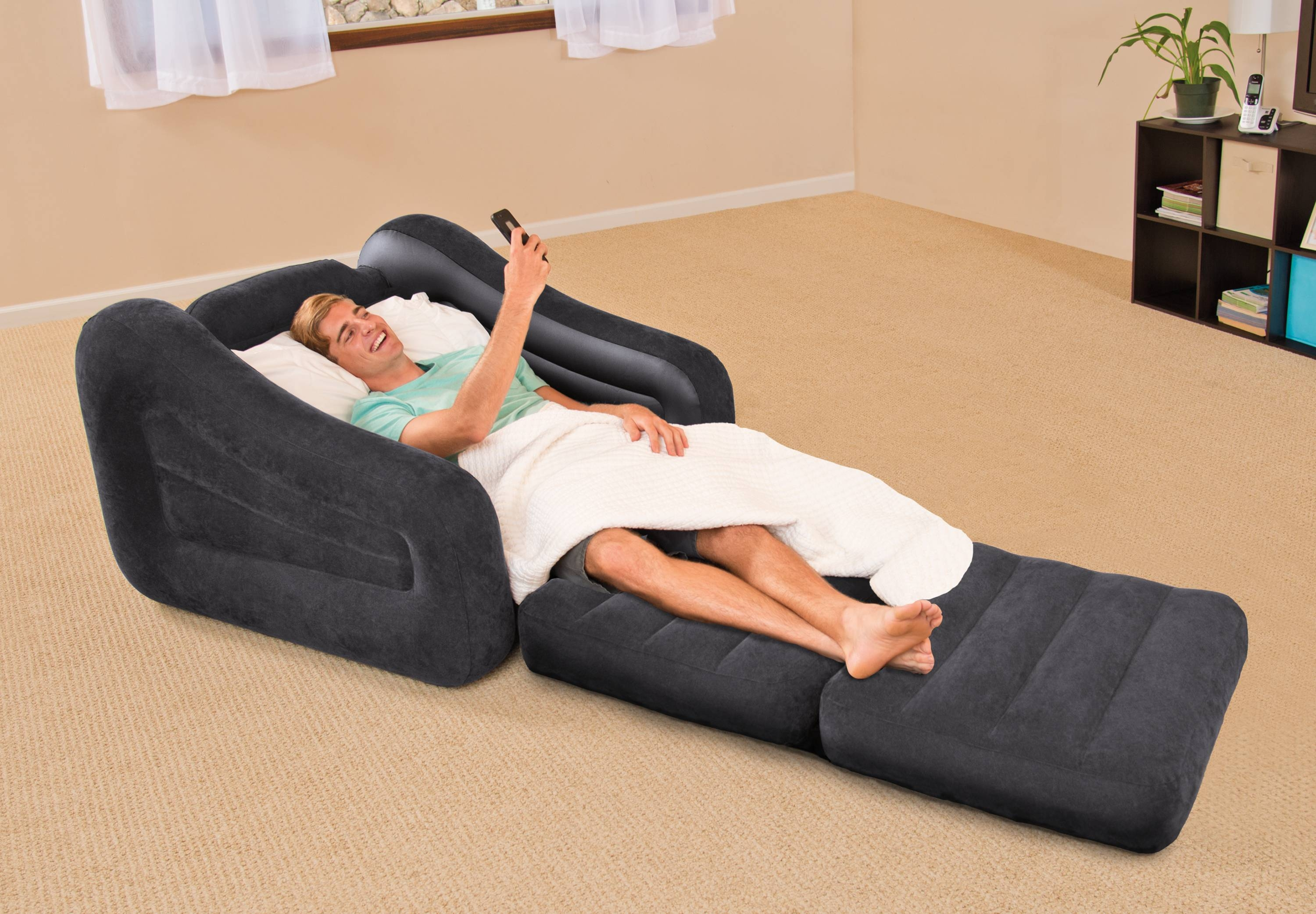 Intex Inflatable Air Chair With Pull Out Twin Bed Mattress Sleeper intended for Intex Sleep Sofas (Image 2 of 15)