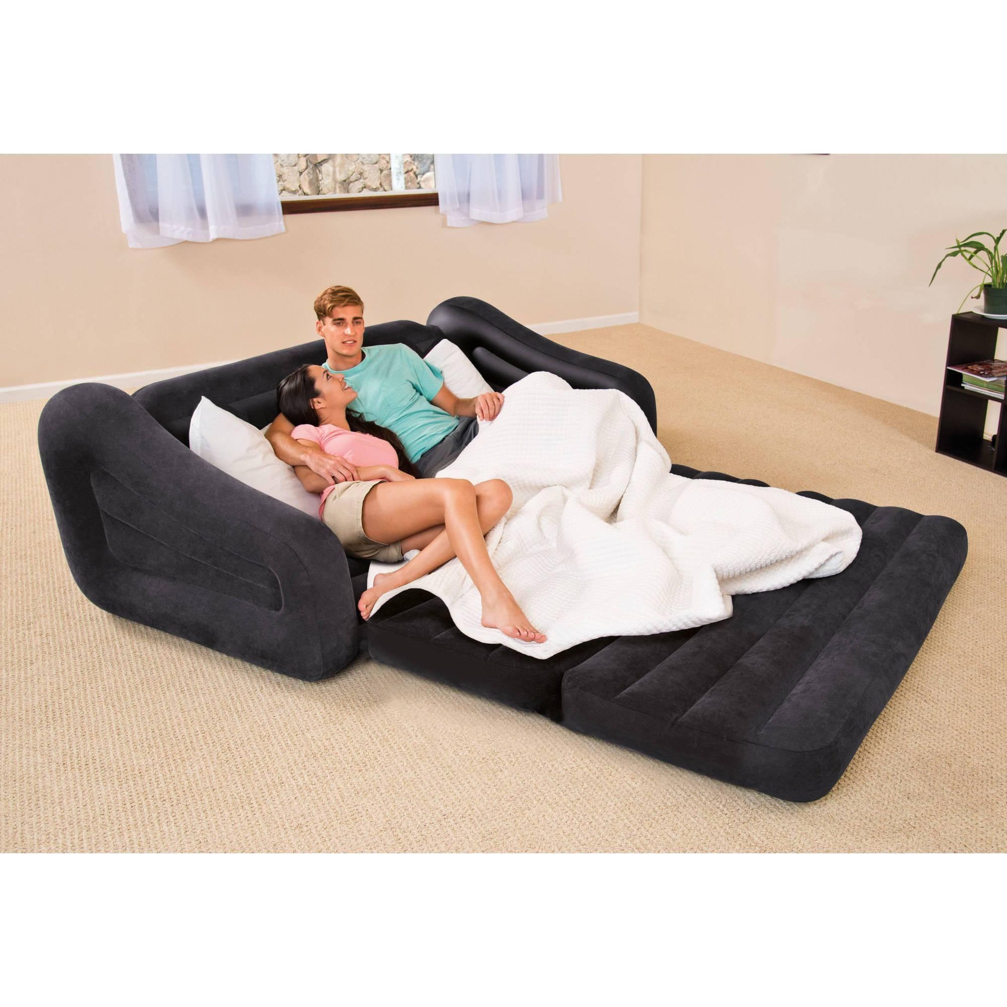Intex Queen Inflatable Pull Out Sofa Bed - Walmart regarding Intex Queen Sleeper Sofas (Image 11 of 15)