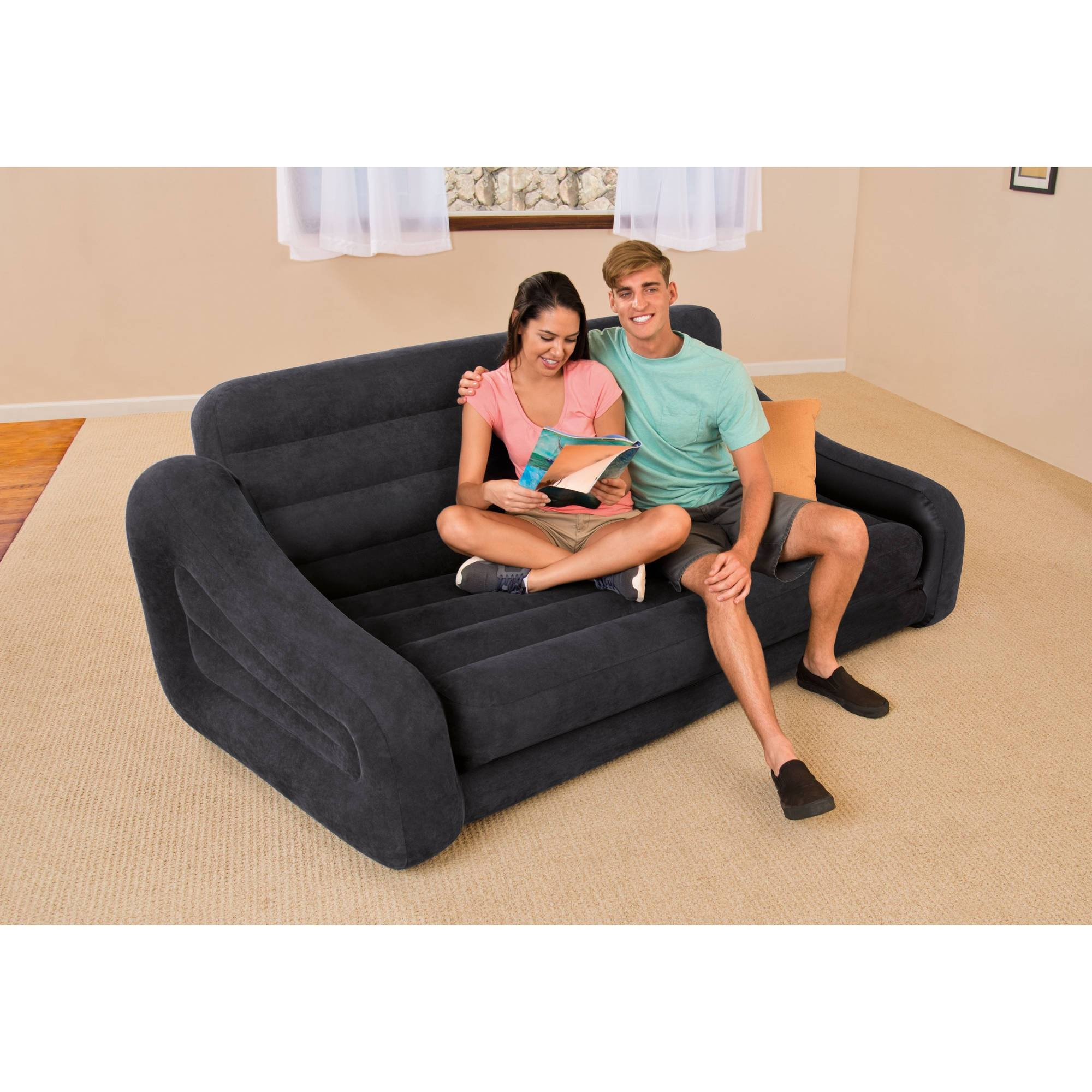 Intex Queen Inflatable Pull-Out Sofa Bed - Walmart throughout Inflatable Sofas And Chairs (Image 10 of 15)