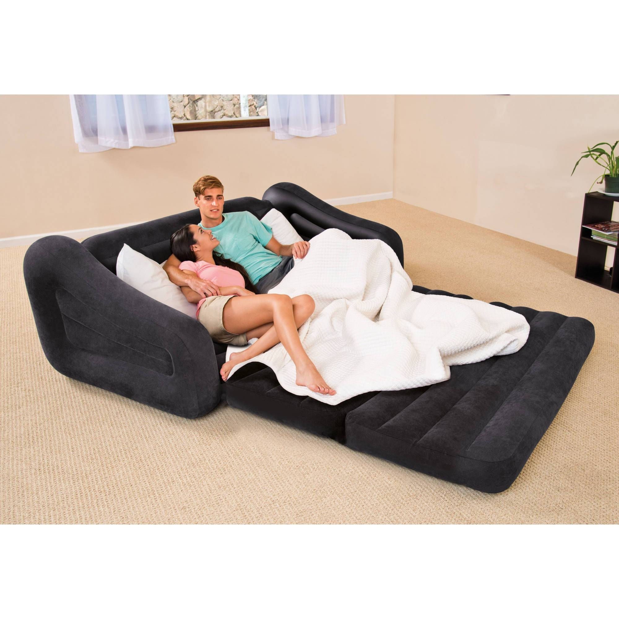 Intex Queen Inflatable Pull-Out Sofa Bed - Walmart with regard to Sofas Mattress (Image 3 of 15)