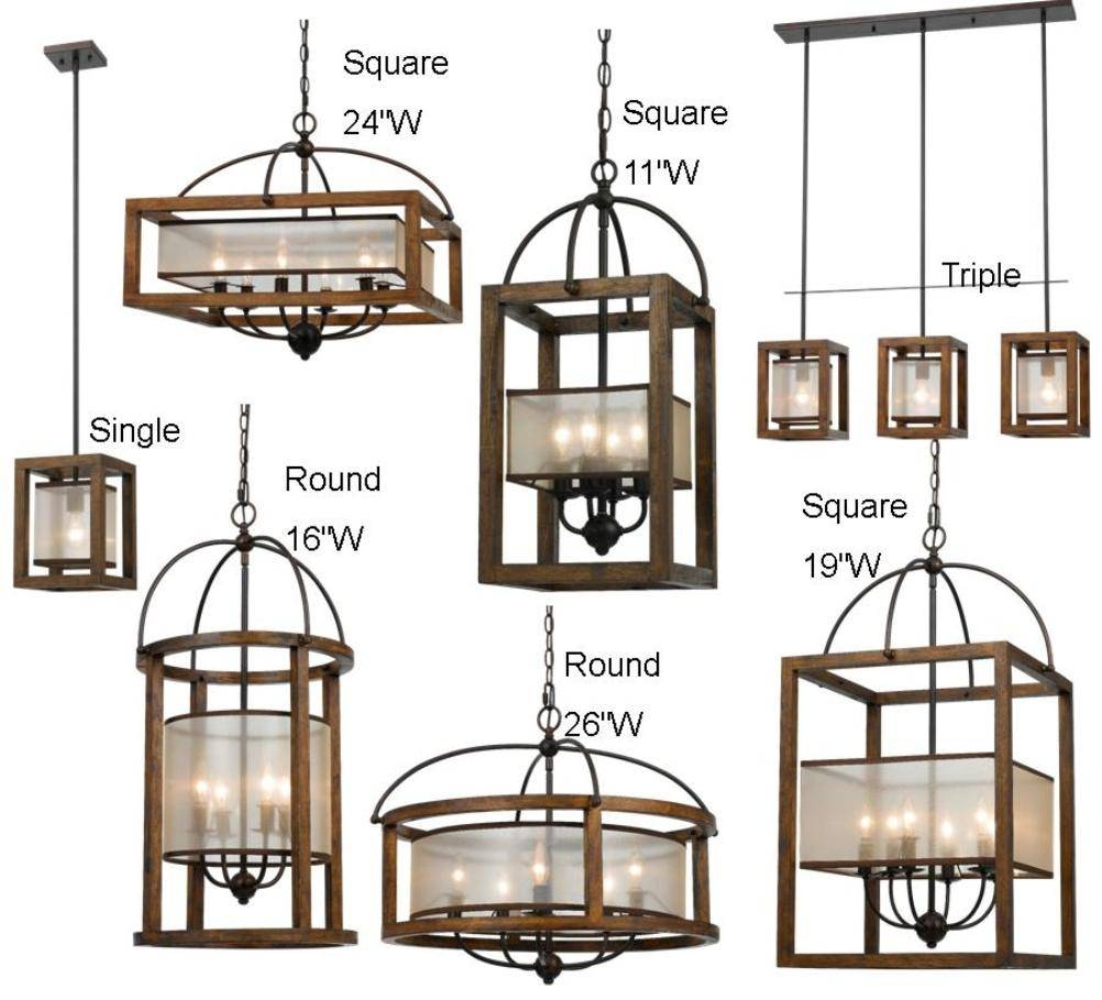 "Iron & Wood Pendant Island Light 8"" Wide 