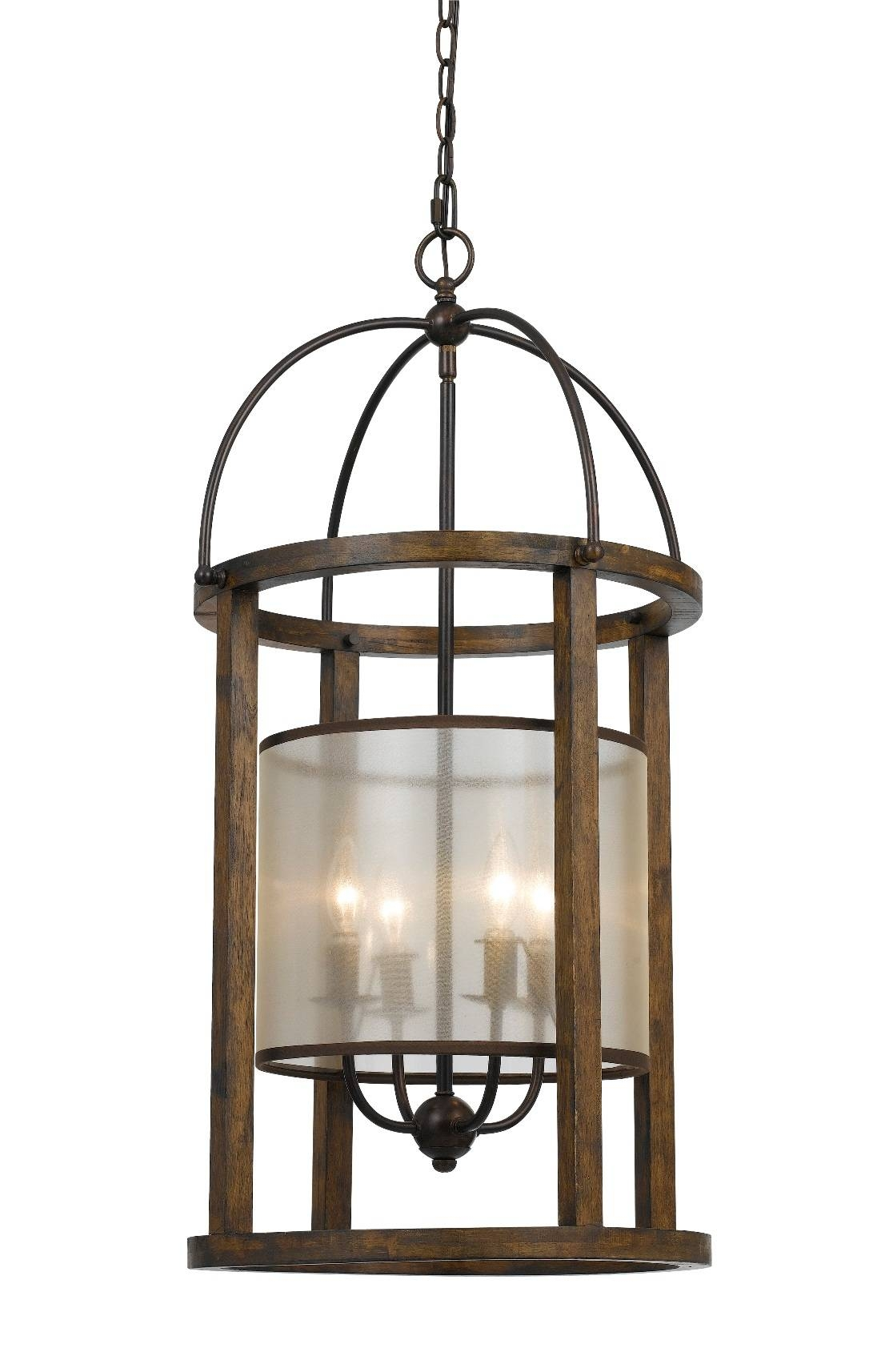 """Iron & Wood Sheer Shade Chandelier 16"""" 