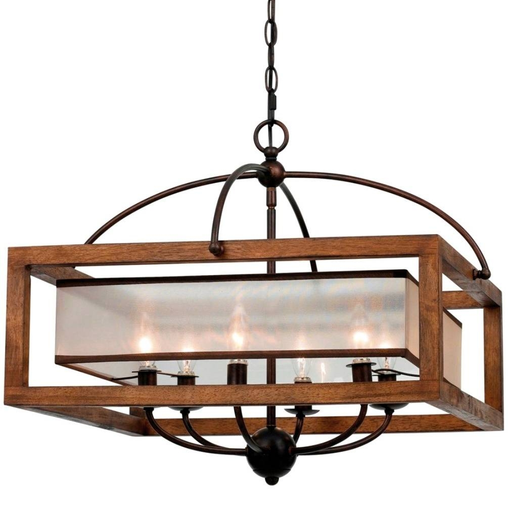 Iron & Wood Sheer Shade Chandelier 24"
