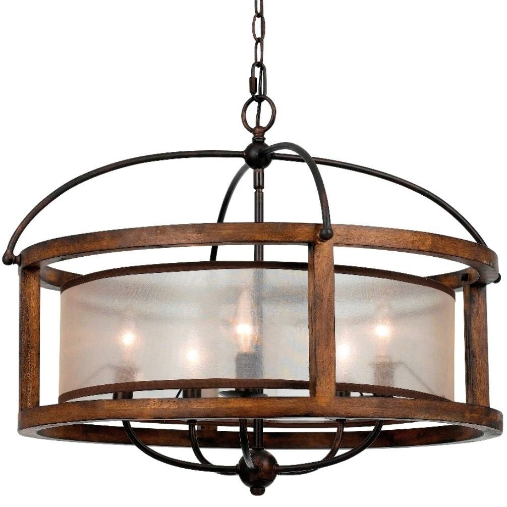"""Iron & Wood Sheer Shade Chandelier 26"""" 