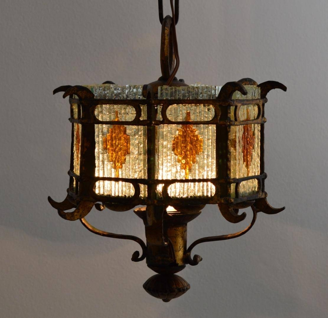 Italian Brustalist Cut Glass & Gilt Wrought Iron Lantern Pendant inside Wrought Iron Lights Pendants (Image 7 of 15)