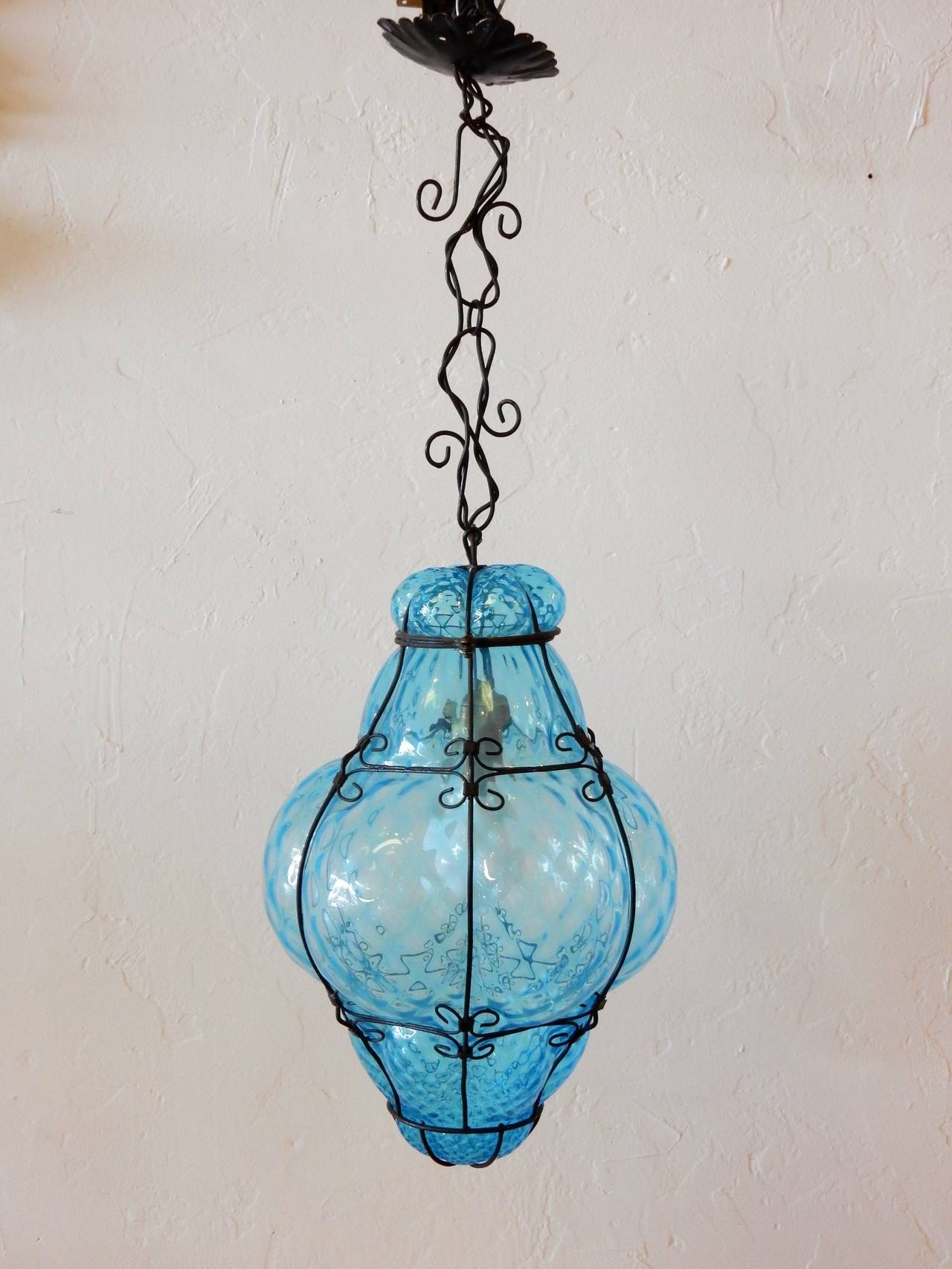 Italian Cage Art Glass Pendant Lampseugso In Aqua Blue At 1Stdibs inside Turquoise Blue Glass Pendant Lights (Image 3 of 15)