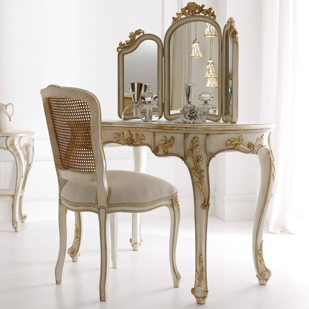 Italian Freestanding 3 Leaf Dressing Table Mirror | Juliettes inside Free Standing Mirrors for Dressing Table (Image 7 of 15)
