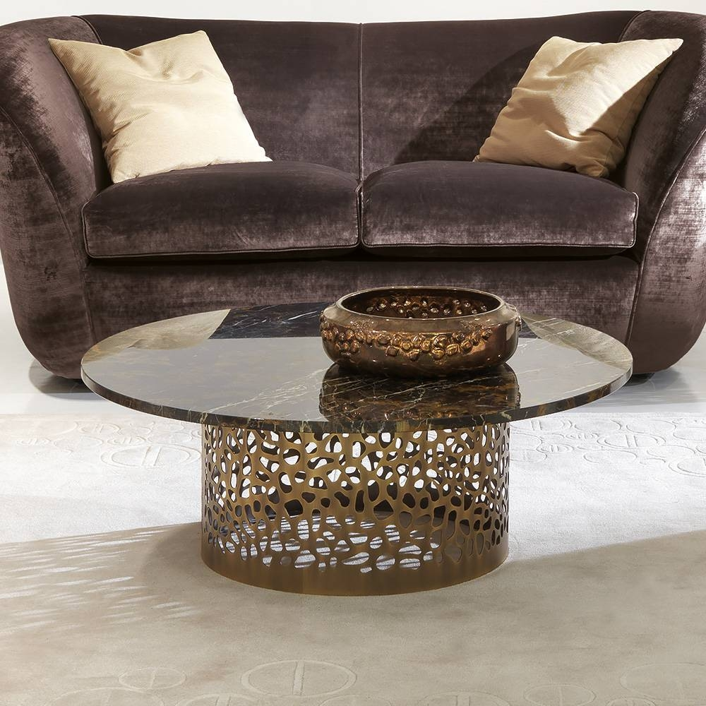 Italian Laser Cut Bronzed Metal Round Marble Coffee Table within Italian Coffee Tables (Image 7 of 15)