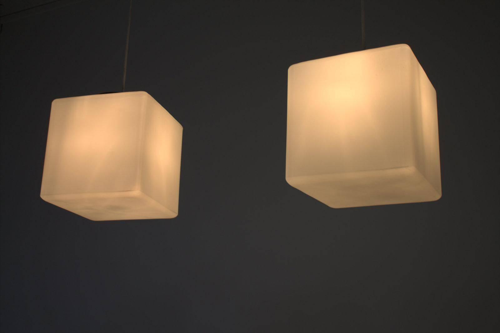 Italian Milk Glass Cube Pendant Lamp From Stilnovo, 1960S For Sale within Milk Glass Pendants (Image 6 of 15)