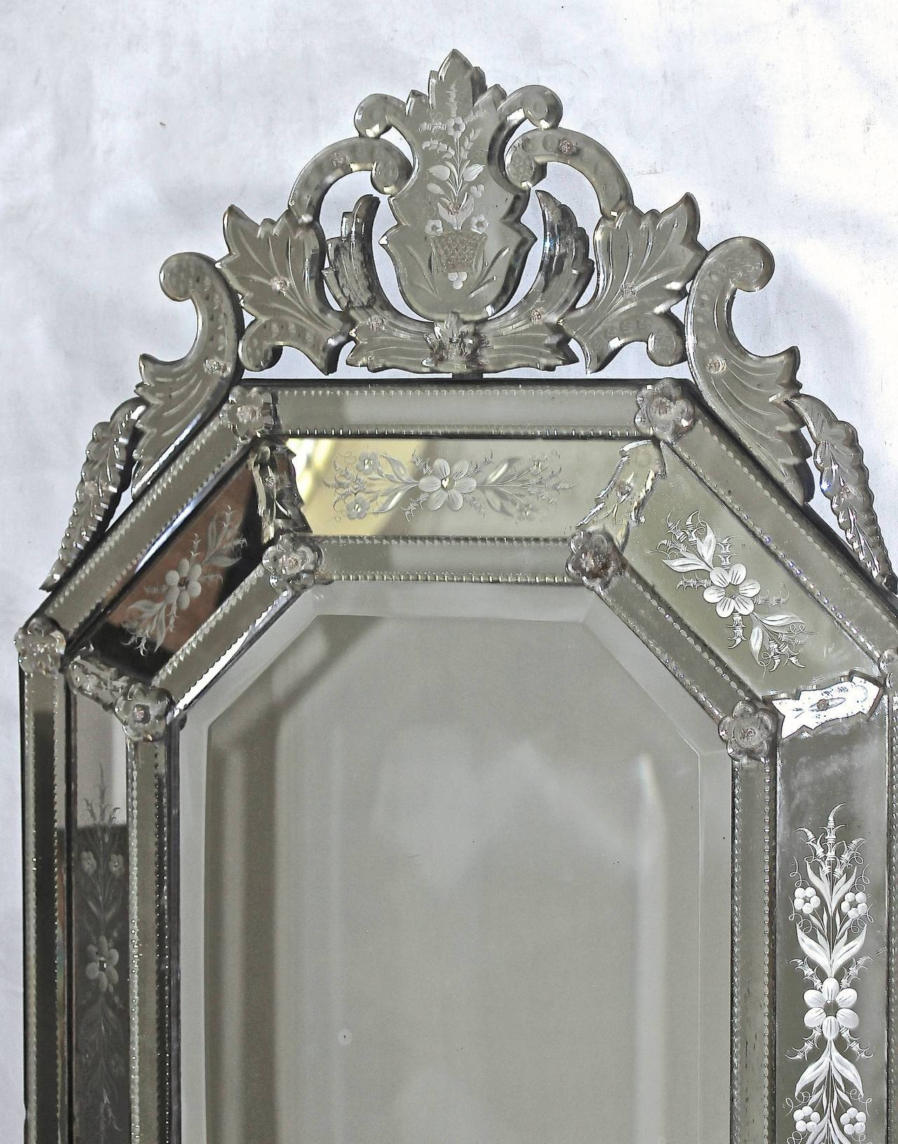 Italian Venetian Etched Glass Wall Mirror For Sale At 1Stdibs with Venetian Etched Glass Mirrors (Image 13 of 15)