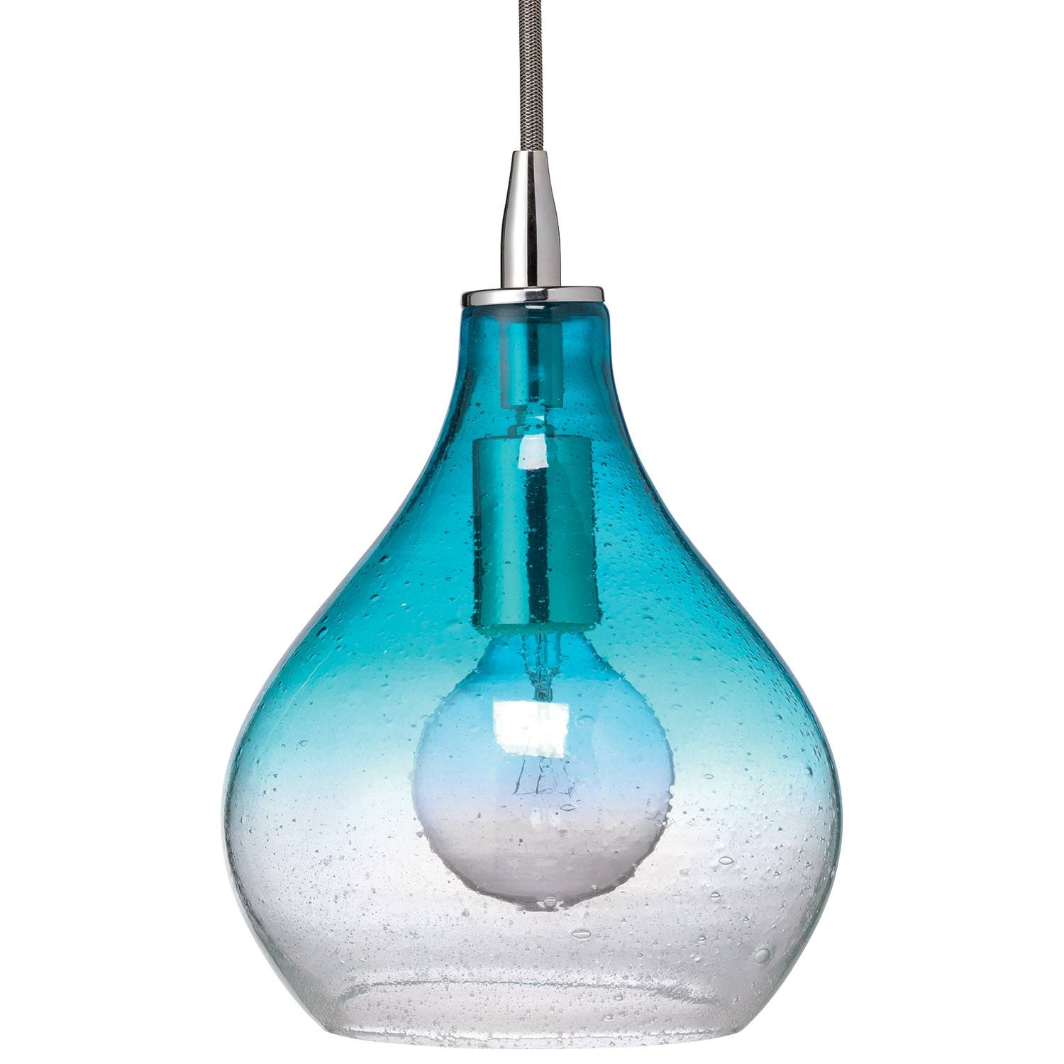 Jamie Young Curved Aqua Gradient Glass Small Pendant for Aqua Pendant Lights Fixtures (Image 6 of 15)