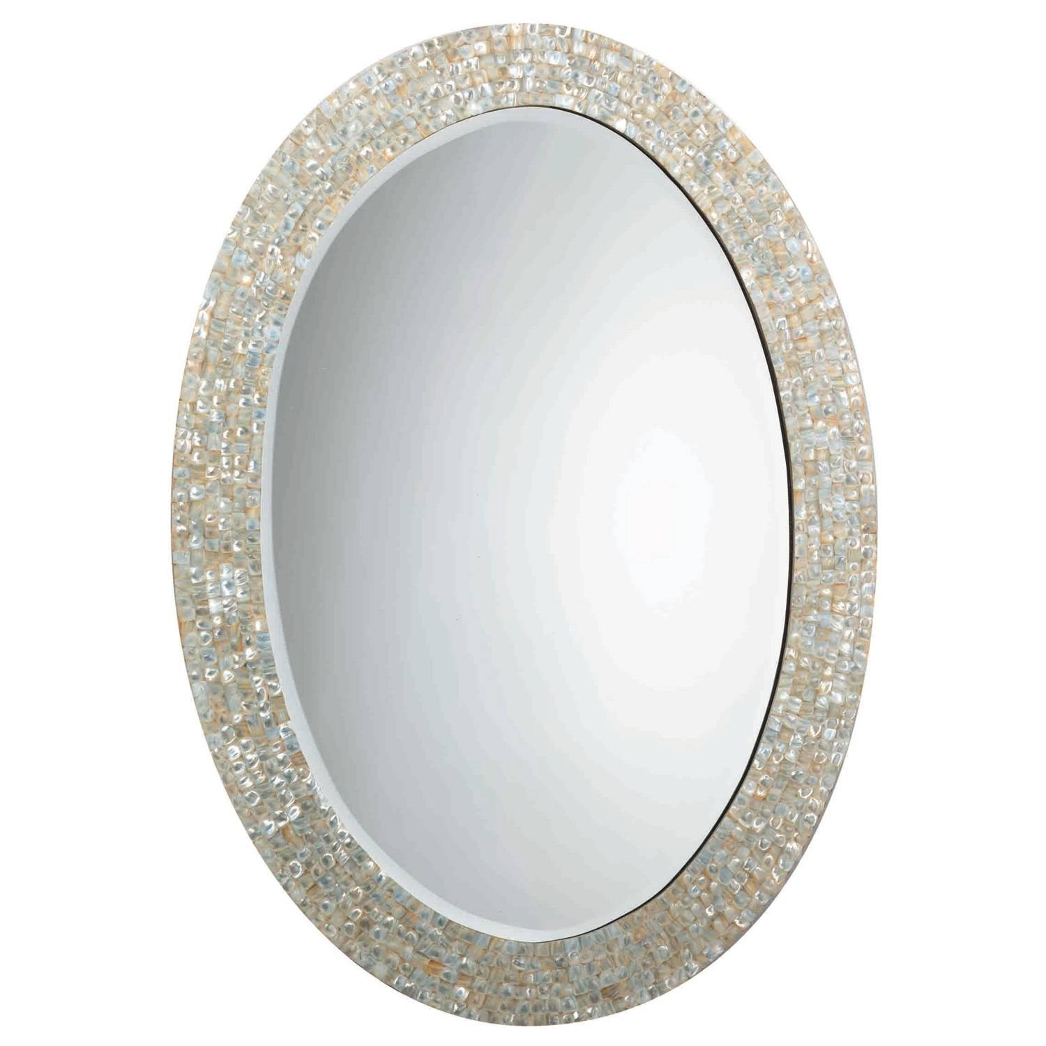 Jamie Young Oval Mother Of Pearl Mirror intended for Mother Of Pearl Wall Mirrors (Image 8 of 15)