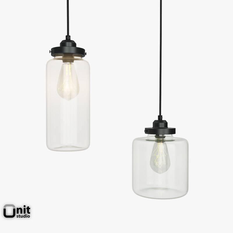 Jar Pendant Light 3D Model within West Elm Glass Pendants (Image 11 of 15)