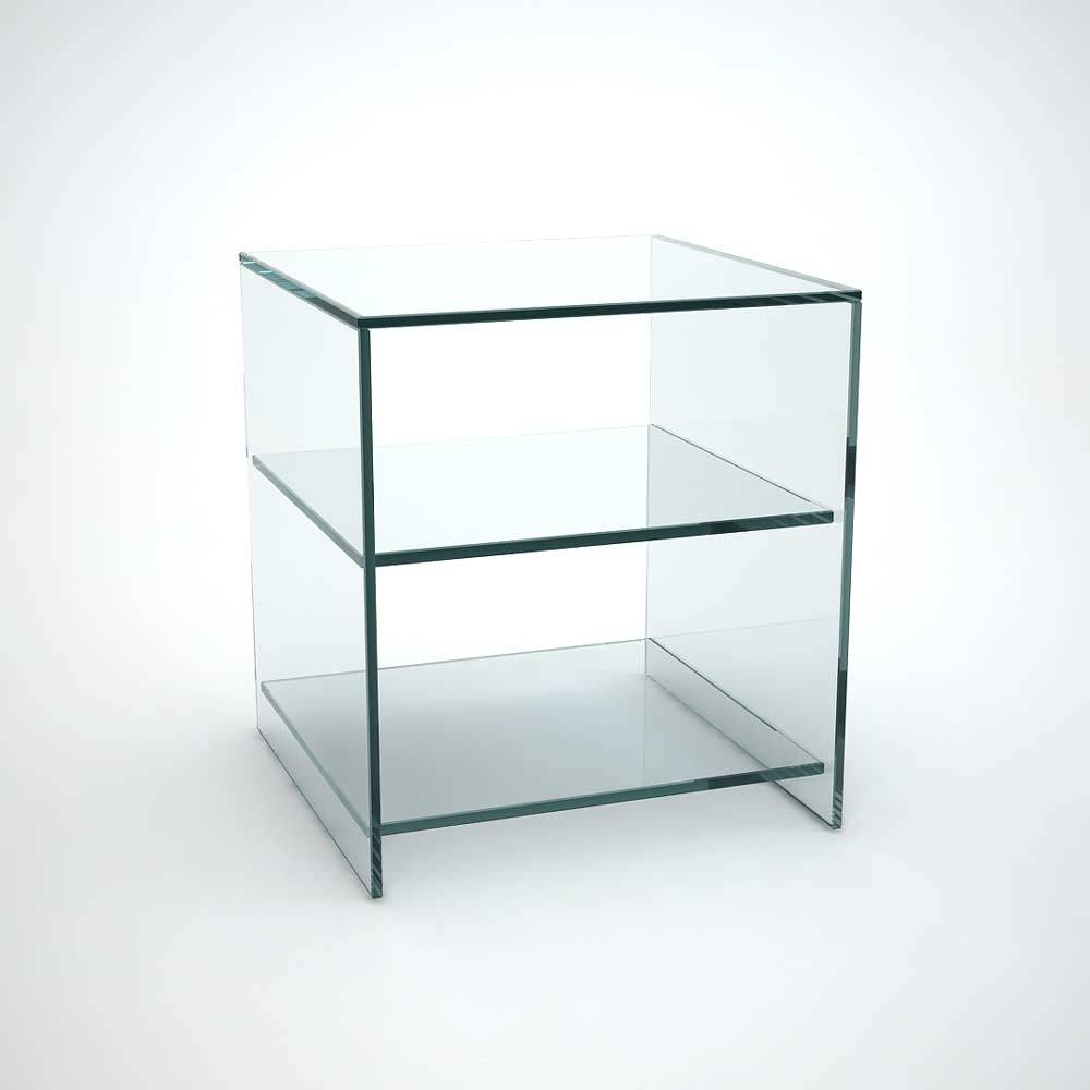 Judd Glass Side Table With Shelves - Klarity - Glass Furniture within Glass Coffee Table With Shelf (Image 12 of 15)