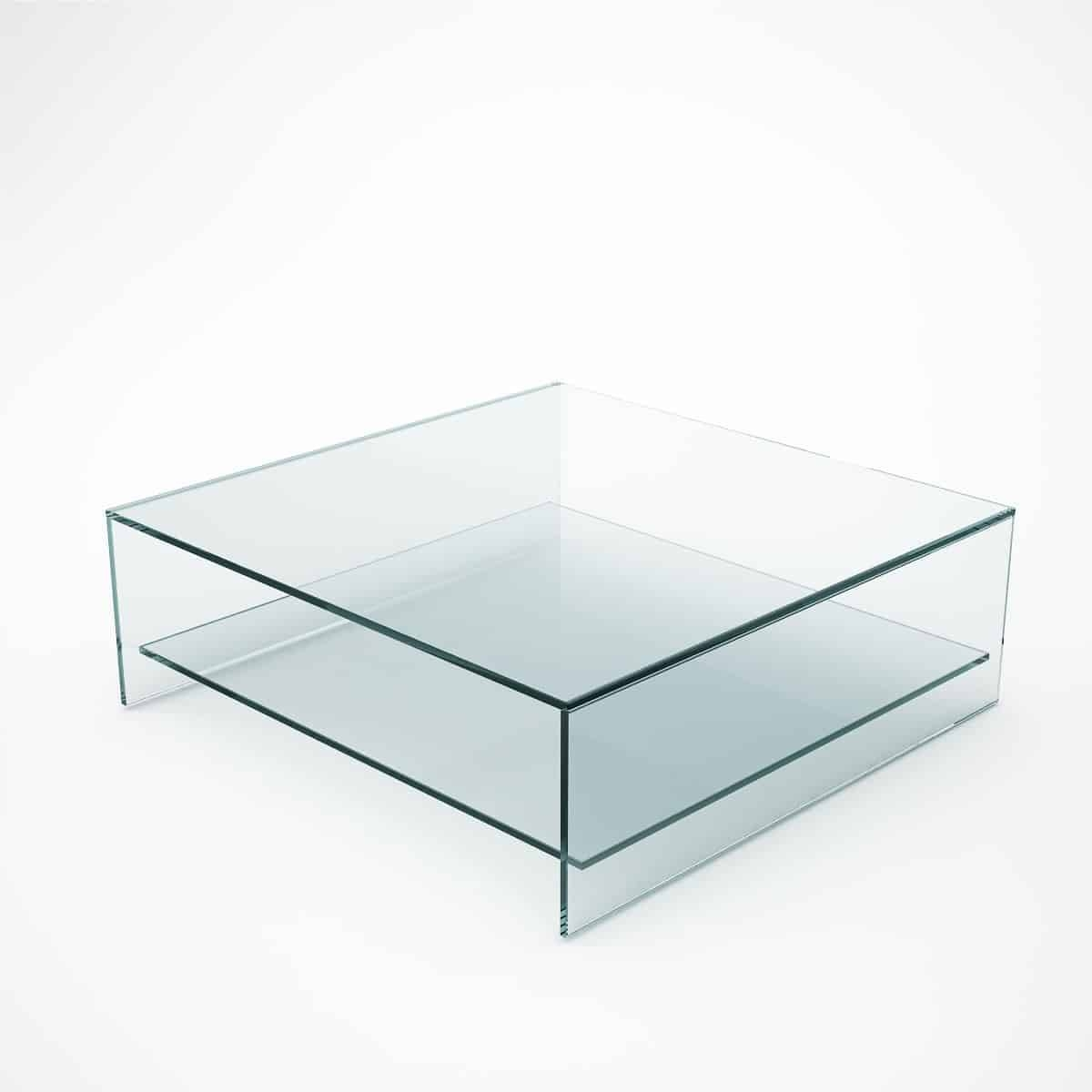 Judd - Square Glass Coffee Table With Shelf - Klarity - Glass regarding Square Glass Coffee Table (Image 6 of 15)