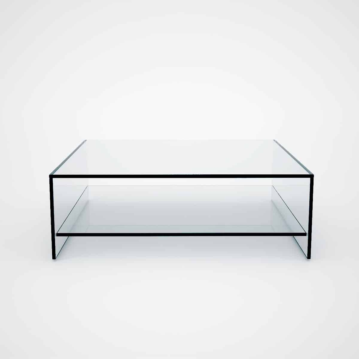 Judd - Square Glass Coffee Table With Shelf - Klarity - Glass throughout Glass Coffee Table With Shelf (Image 11 of 15)