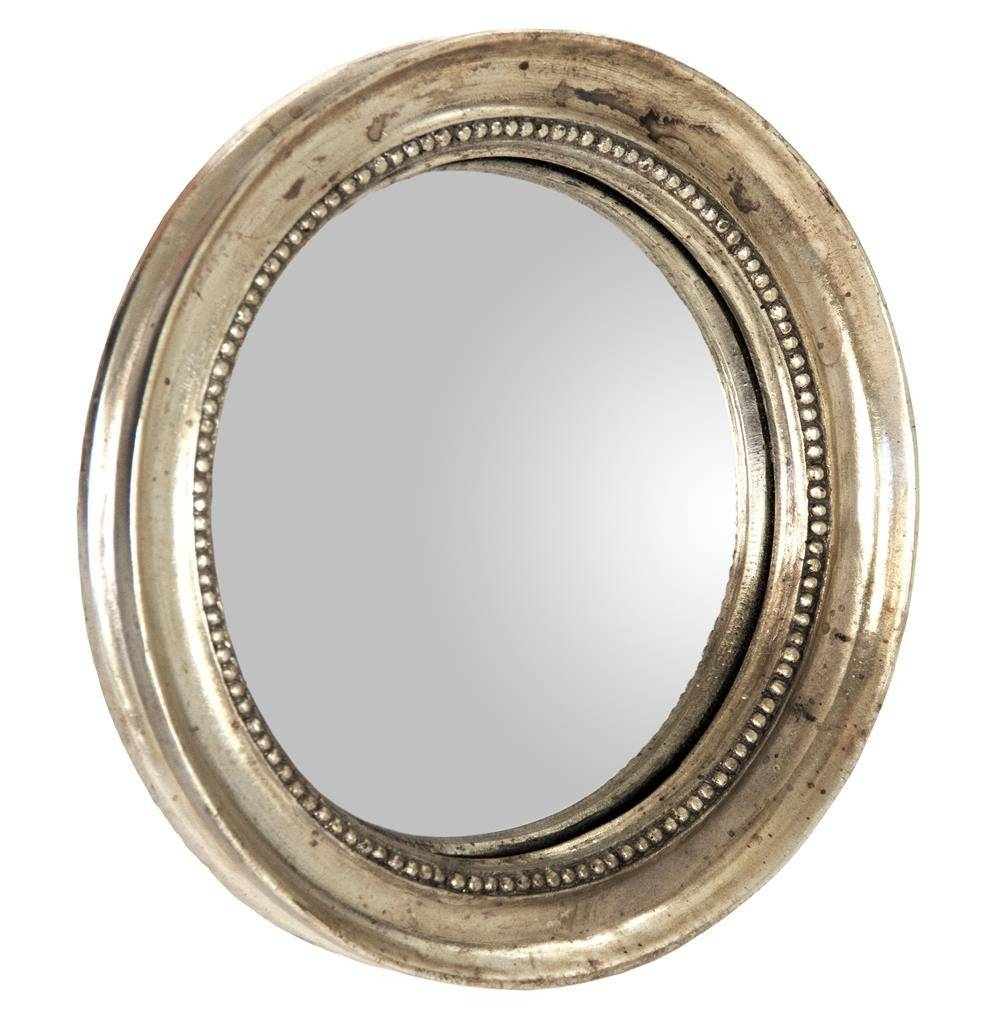 Julian Antique Gold Champagne Small Round Convex Mirror | Kathy regarding Antique Convex Mirrors (Image 11 of 15)