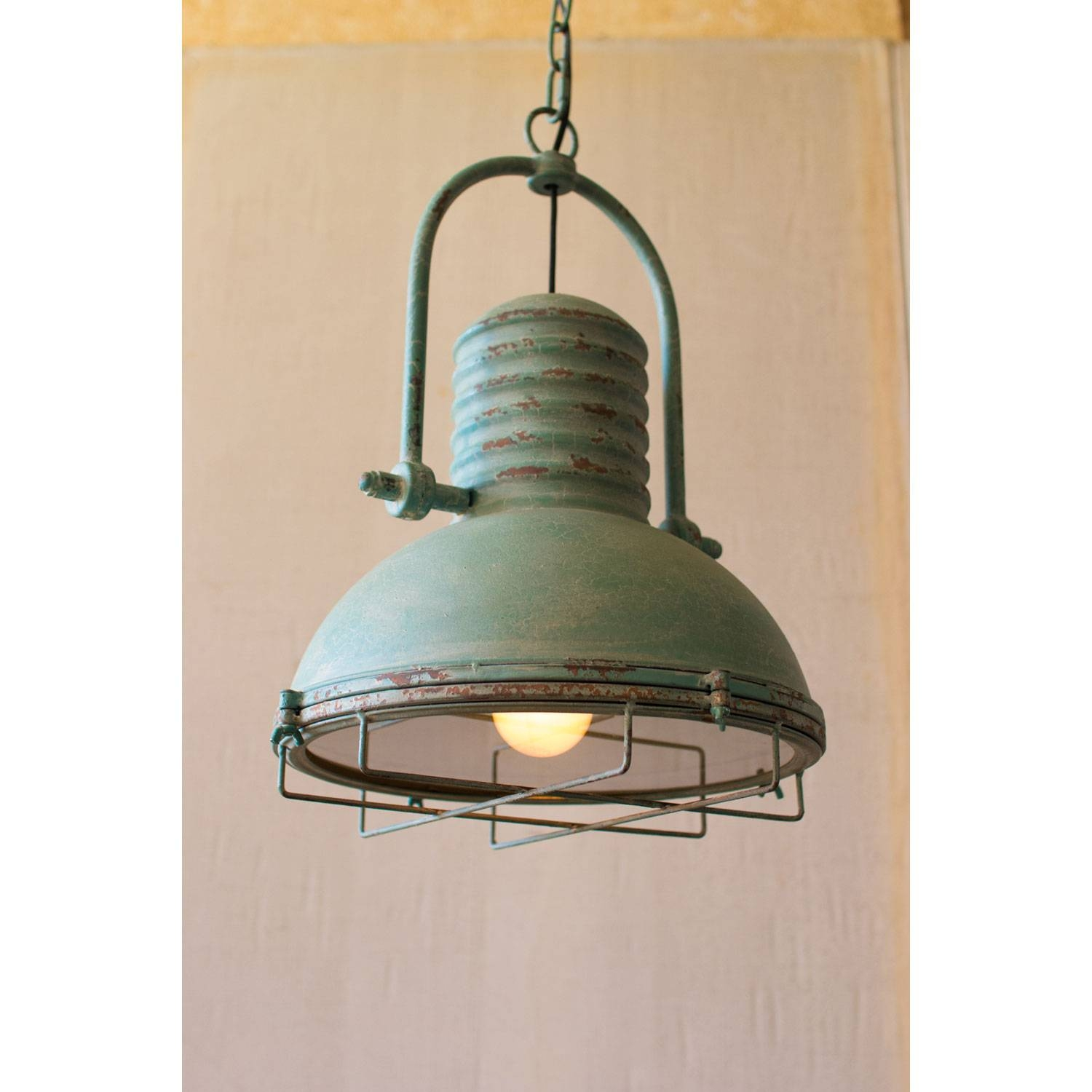 Kalalou Antique Turquoise One Light Pendant With Glass And Wire Throughout French Style Glass Pendant Lights (View 4 of 15)