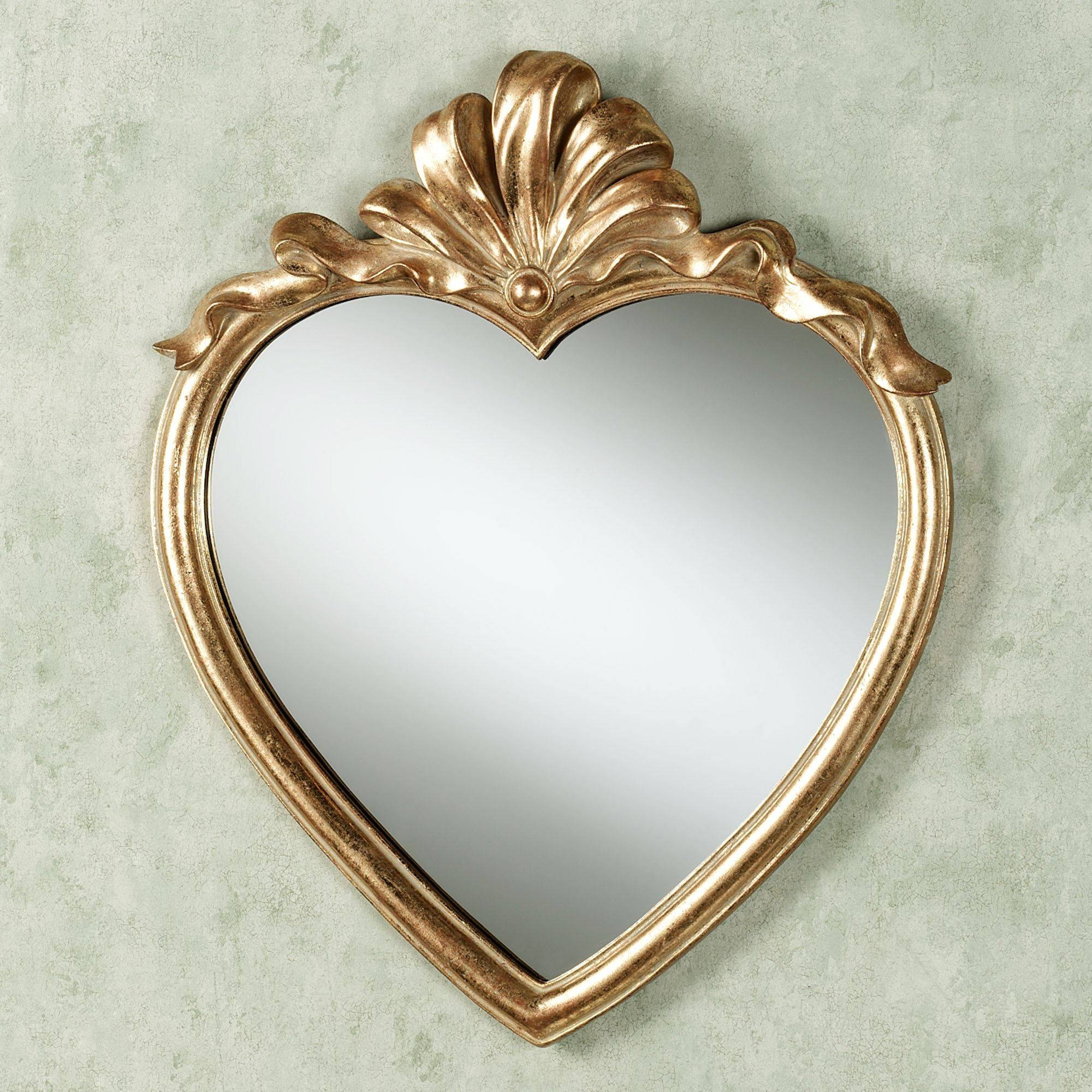 Karessa Heart Wall Mirror in Gold Heart Mirrors (Image 7 of 15)