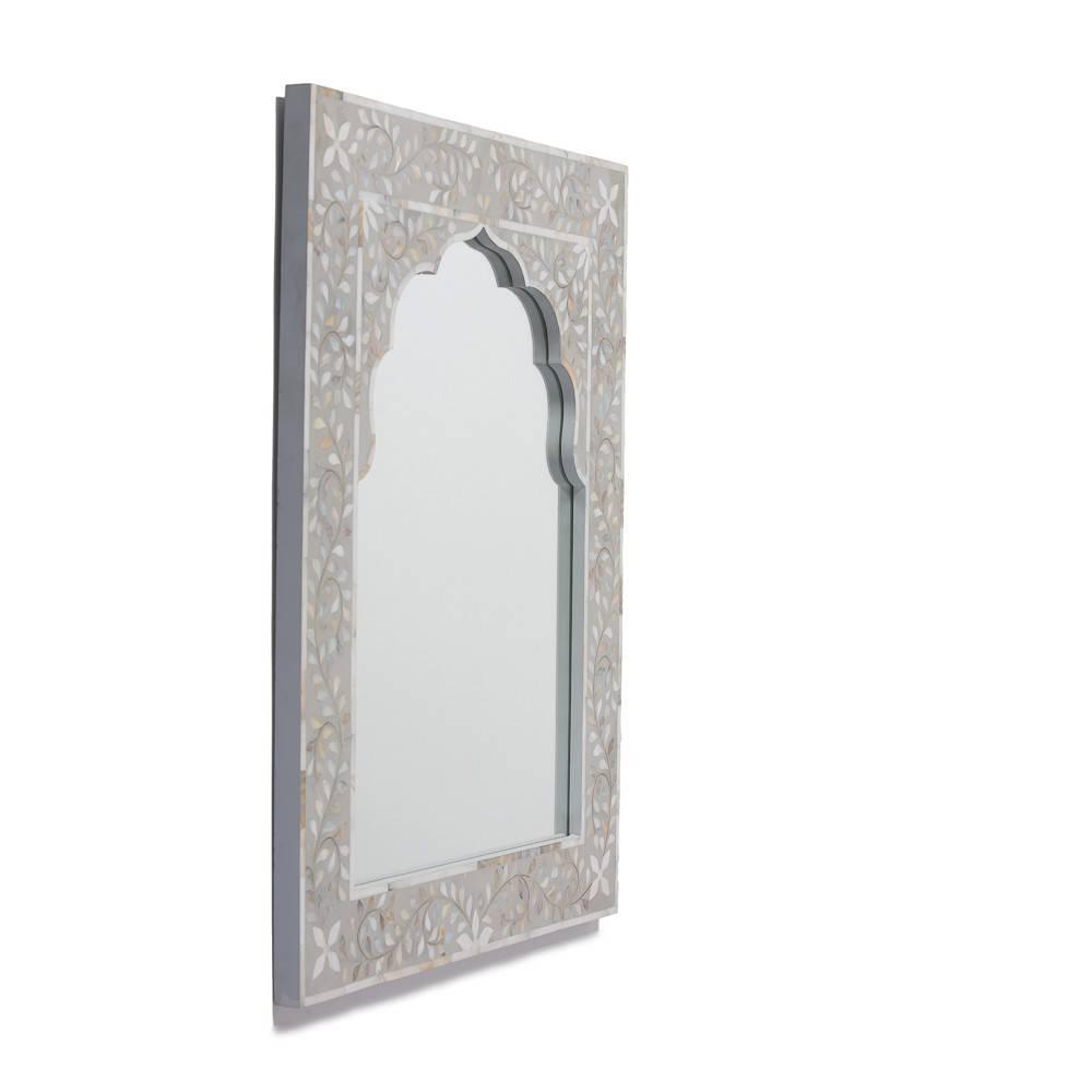 Kasbah Mother Of Pearl Wall Mirror In Steeple Grey For Mother Of Pearl Wall Mirrors (View 11 of 15)
