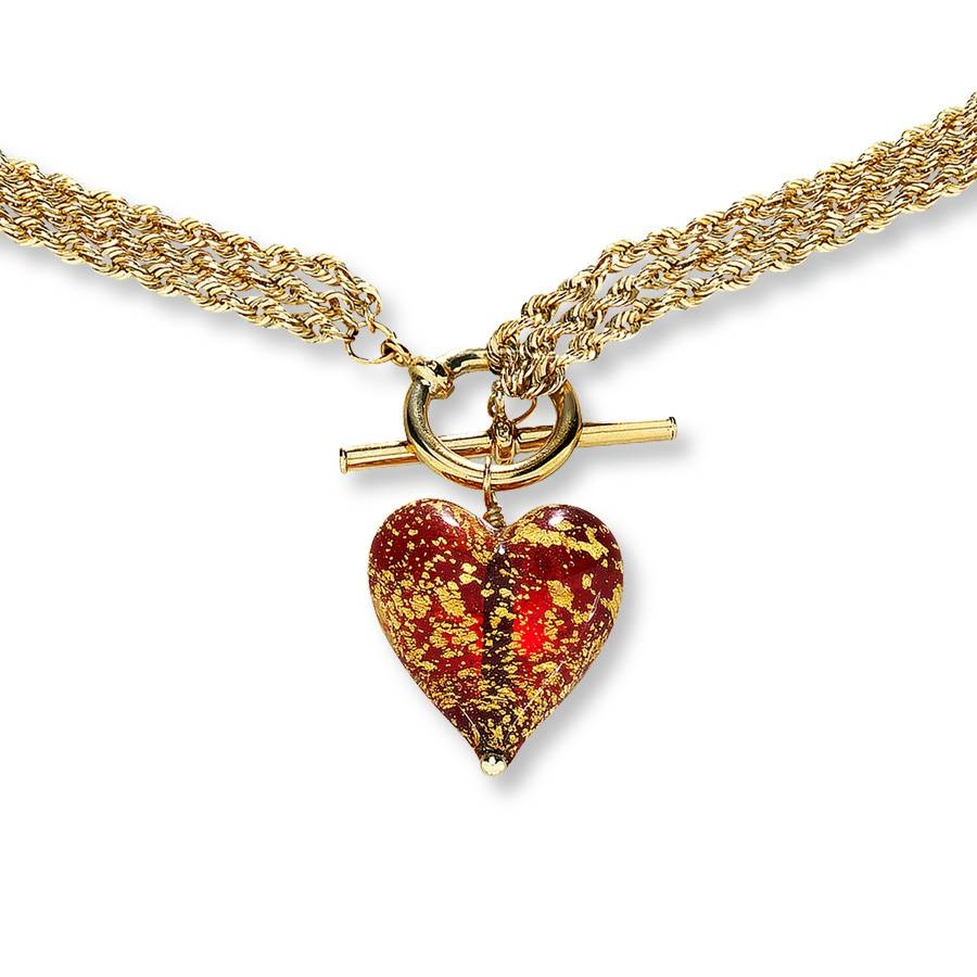 "Kay - Venetian Glass Heart 14K Yellow Gold Necklace 17"" Length with regard to Venetian Glass Pendants (Image 9 of 15)"
