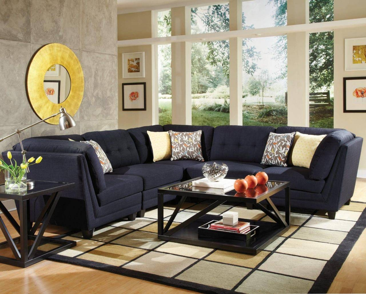 Keaton 5 Pc Sectional Living Room Set In Midnight Blue Throughout Midnight Blue Sofas (View 5 of 15)
