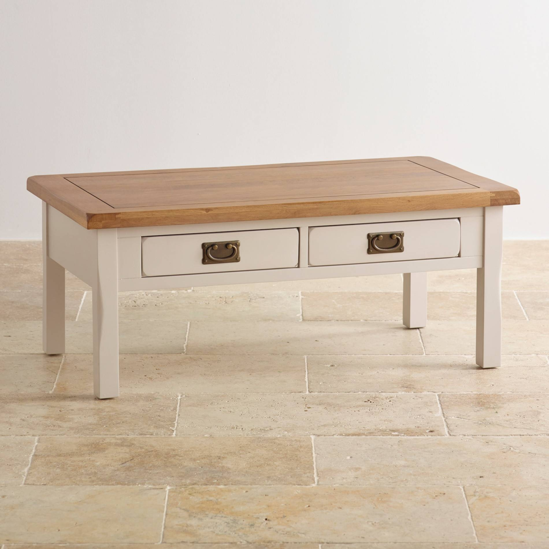 Kemble 4 Drawer Painted Coffee Table In Rustic Solid Oak Intended For Solid Oak Coffee Table With Storage (View 8 of 15)