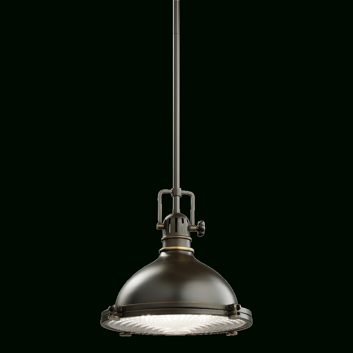 Kichler 1 Light Industrial Pendant (2665Pn)| Polished Nickel Lighting intended for Industrial Looking Lights Fixtures (Image 13 of 15)