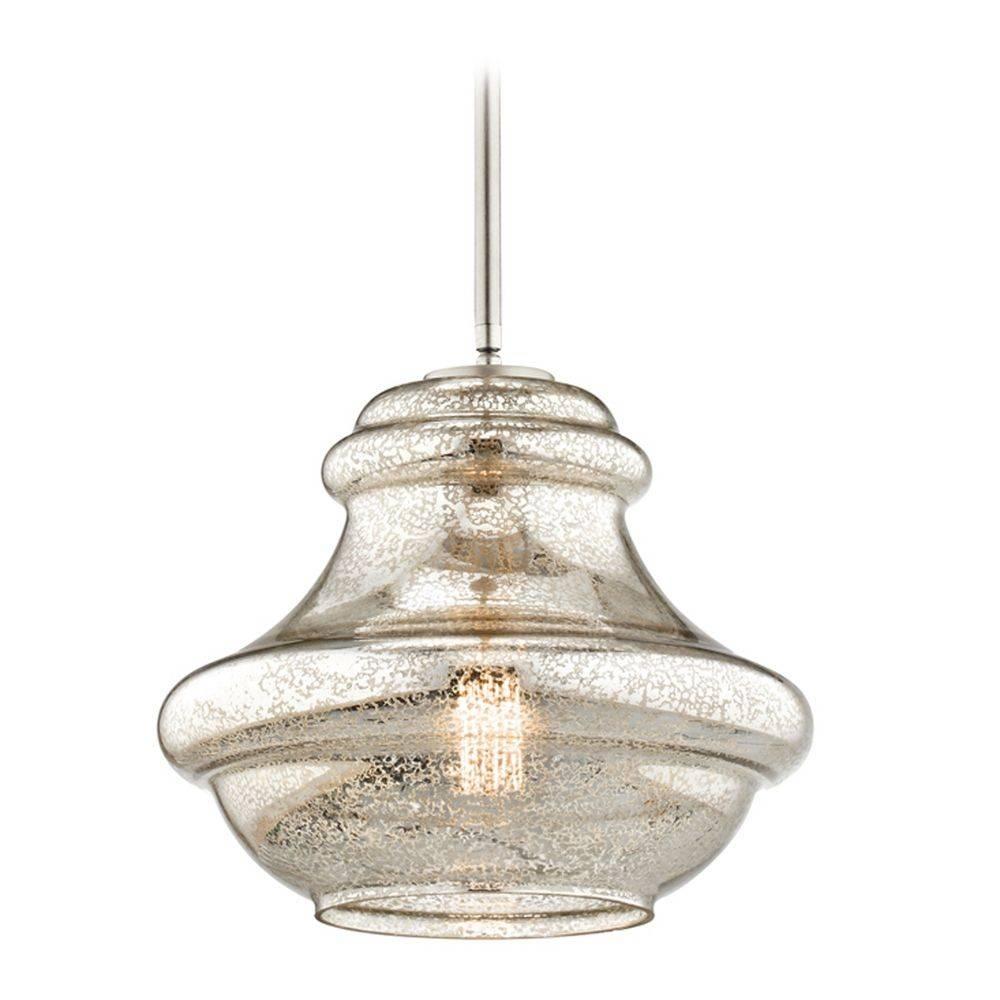 Kichler Lighting Everly Brushed Nickel Pendant Light With Urn pertaining to Satin Nickel Pendant Light Fixtures (Image 9 of 14)
