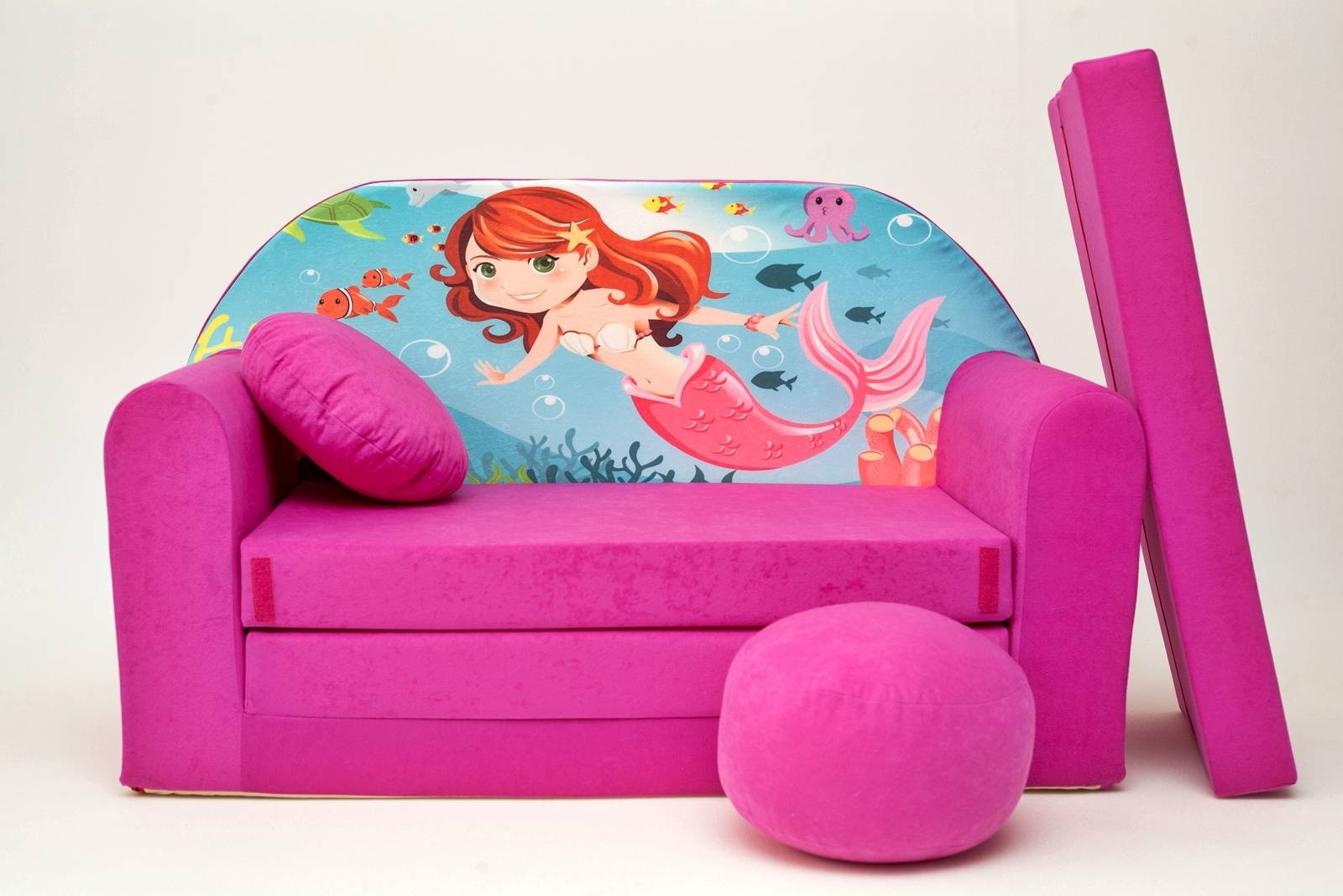 Kids Sofa Bed Childs Furniture + Free Pouffe / Footstool & Pillow With Childrens Sofa Bed Chairs (View 11 of 15)