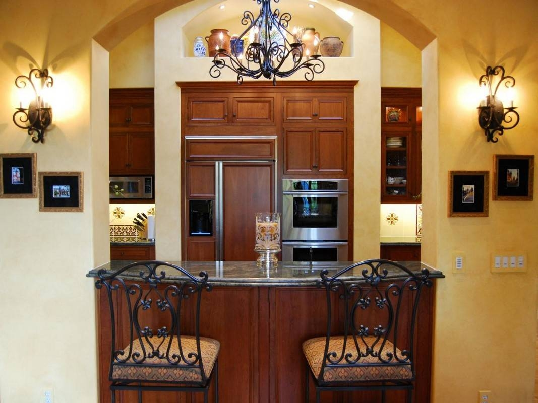 Kitchen Decoration Using Chandelier Wrought Iron Lighting Fixtures Within Wrought Iron Kitchen Lights Fixtures (View 4 of 15)