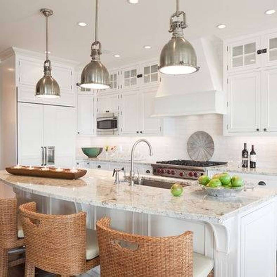 Kitchen : Excellent Drum Shape Glass Pendant Lighting Kitchen Throughout Stainless Steel Kitchen Pendant Lighting (View 6 of 15)