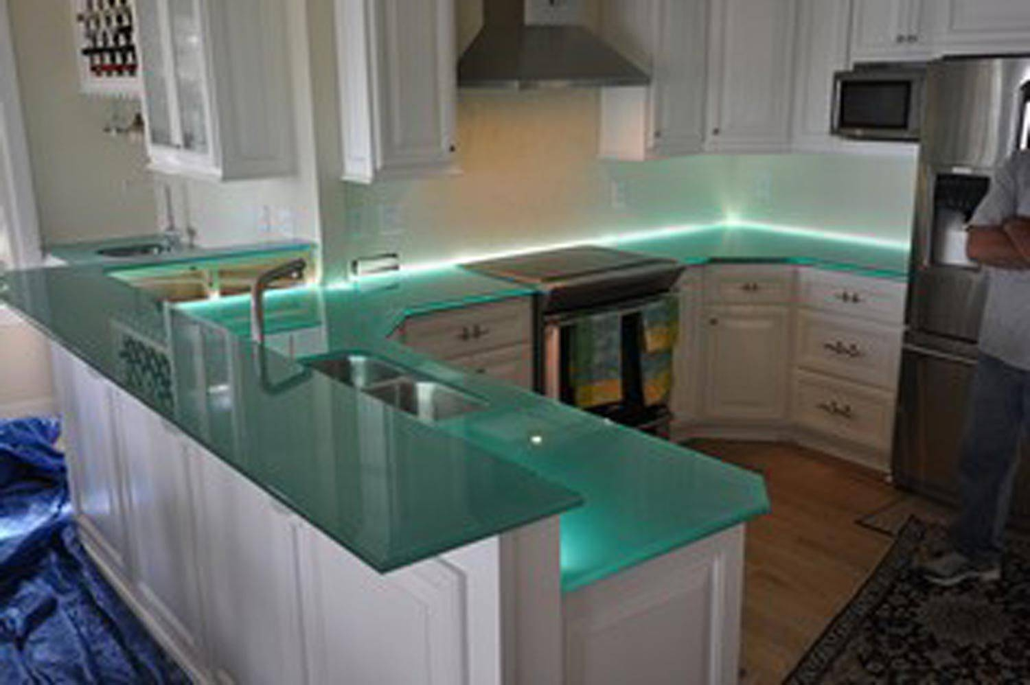 Kitchen Islands: Kitchen Island Bar Top Seal Counter Tile Grout with Apothecary Pendant Lights (Image 13 of 15)