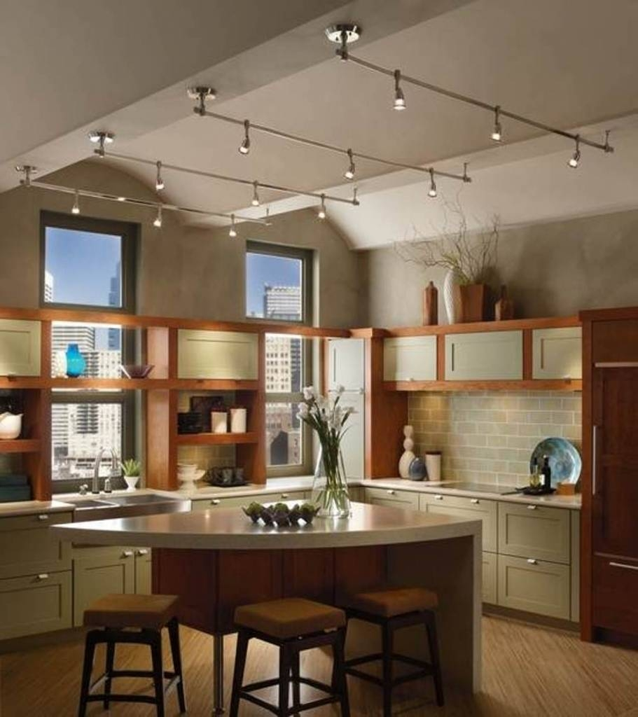 Kitchen : Kitchen Track Lighting Vaulted Ceiling Holiday Dining within Sloped Ceiling Track Lighting (Image 5 of 15)