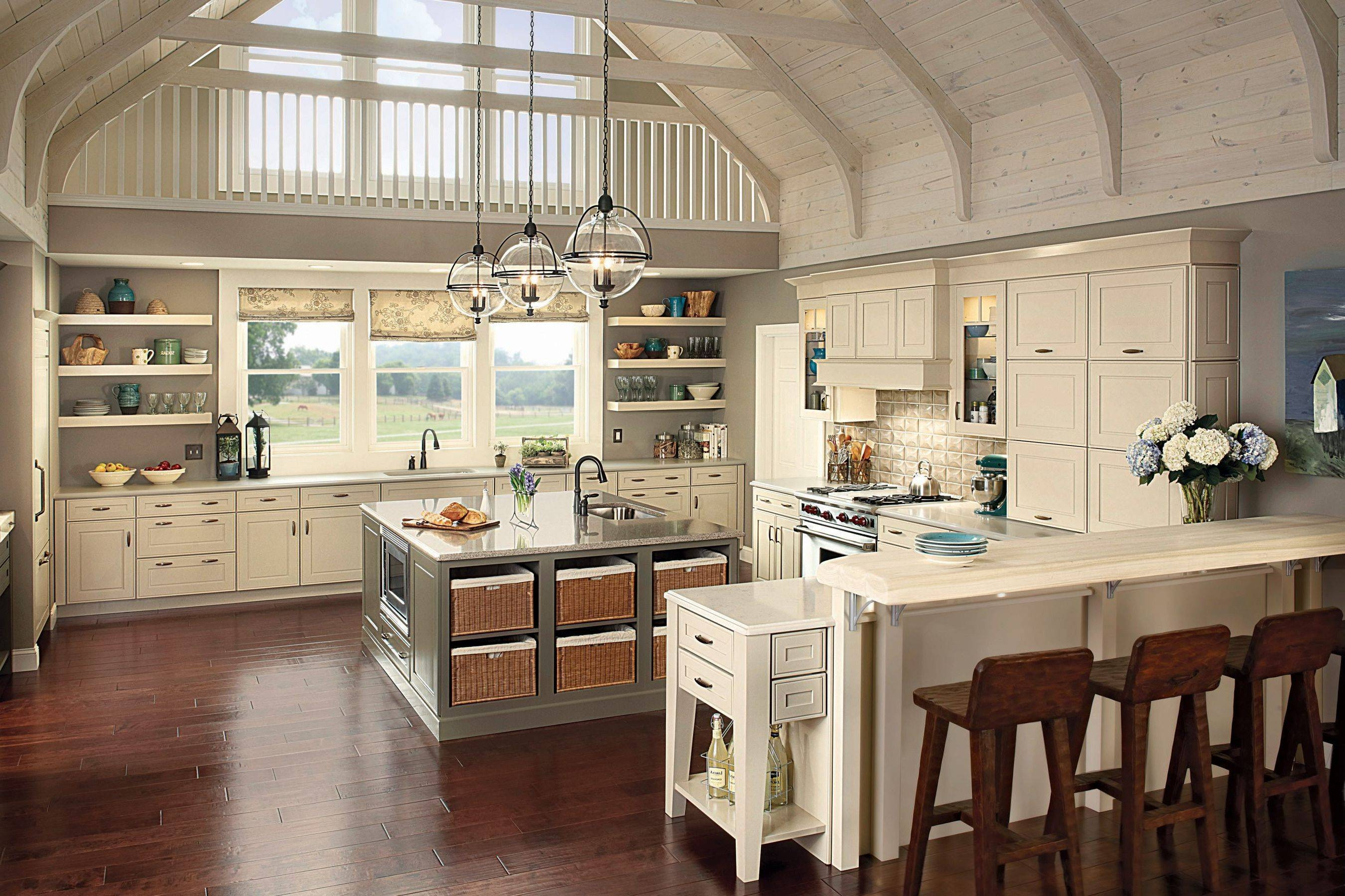 Beautiful Kitchen Lighting: Kitchen Double Glass Pendant Lights Over White Intended  For Double Pendant Lights For