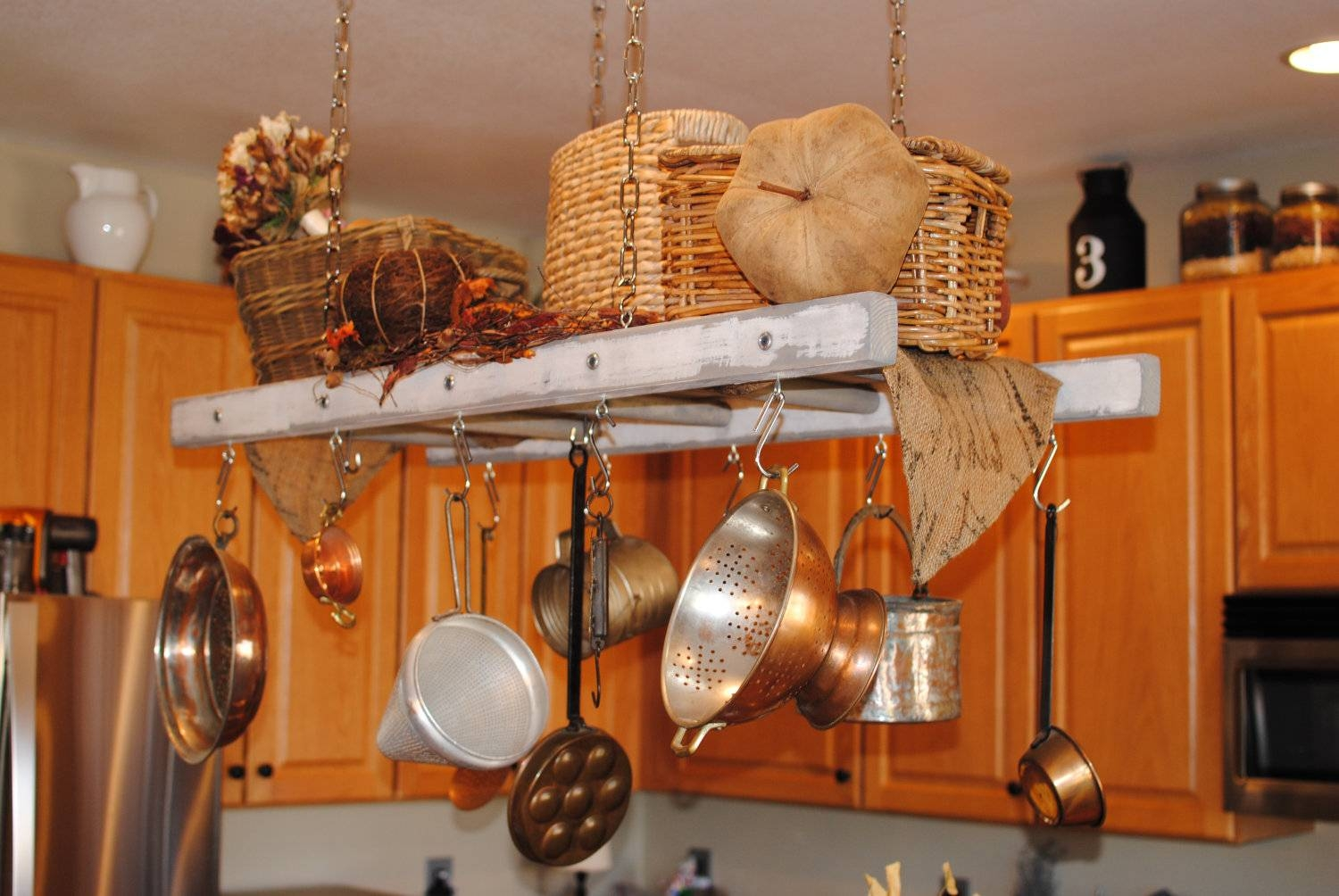 Kitchen: Pot Hanger Rack With Lights | Pot And Pan Holder for Pot Rack With Lights Fixtures (Image 7 of 15)