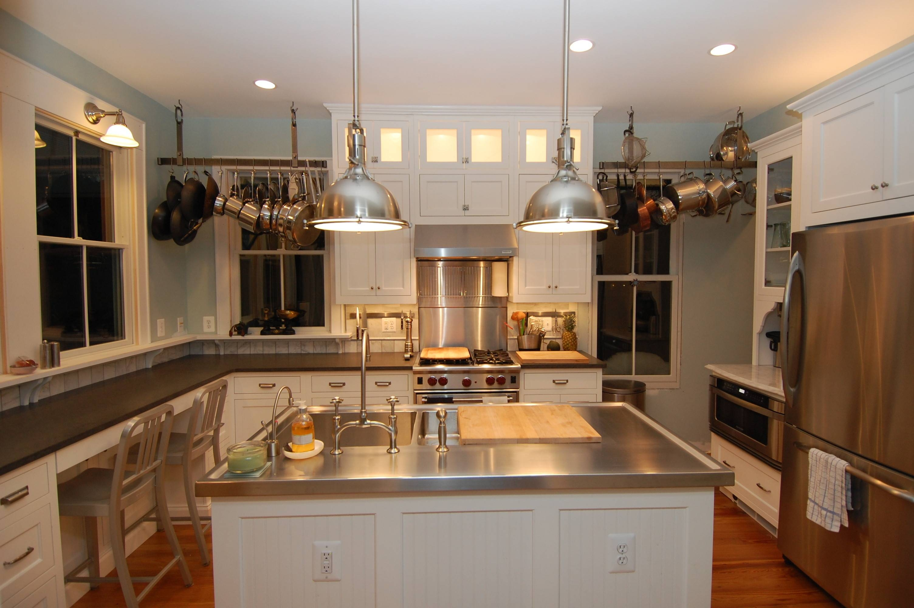Kitchen : Stainless Steel Kitchen Countertops Original With White In Stainless Steel Kitchen Pendant Lights (View 6 of 15)