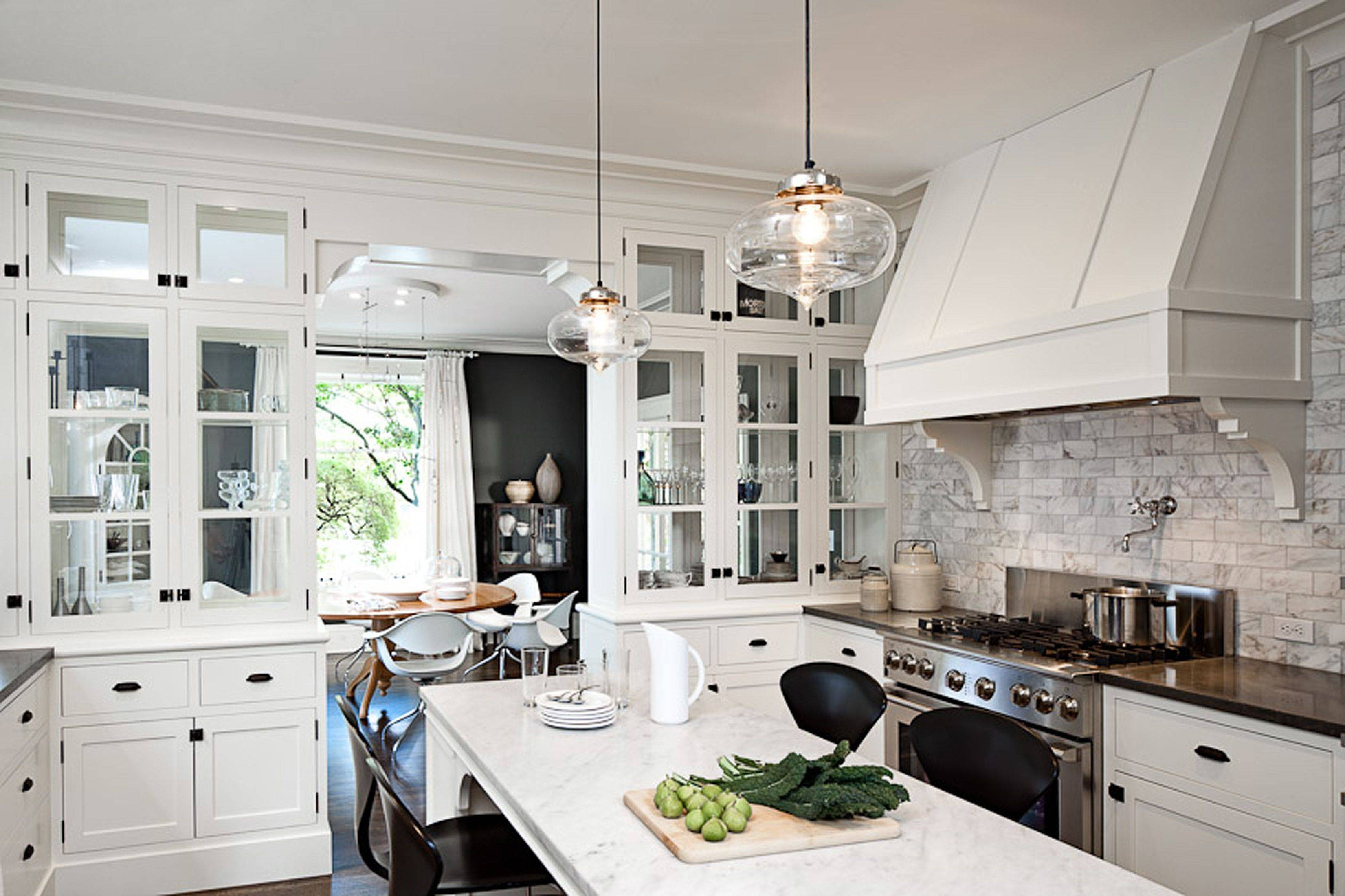 Kitchen Style: White Marble Countertop White Country Kitchen Table in French Glass Pendant Lights (Image 11 of 15)