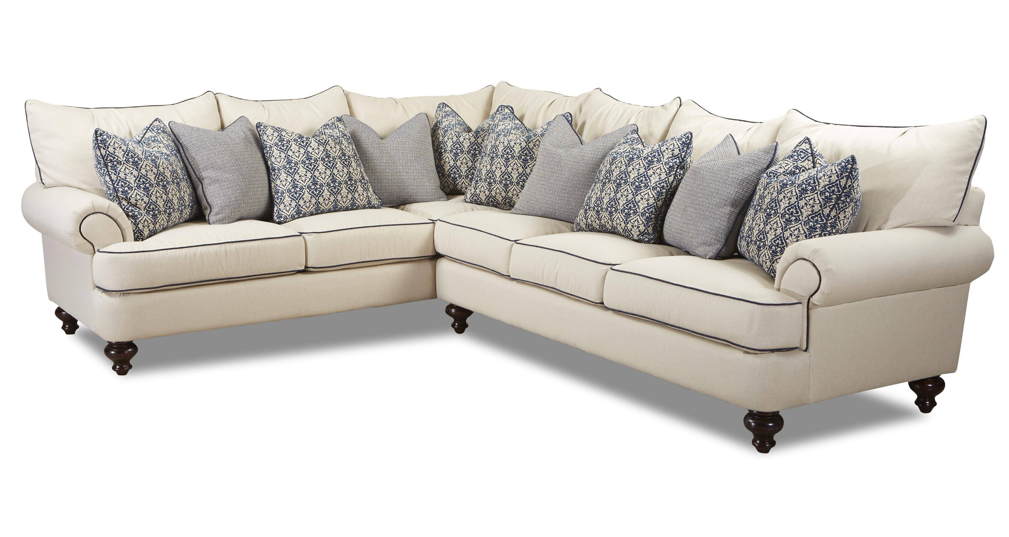 Klaussner Ashworth Shabby Chic Sectional Sofa – Wayside Furniture Intended For Shabby Chic Sectional Sofas Couches (View 11 of 15)