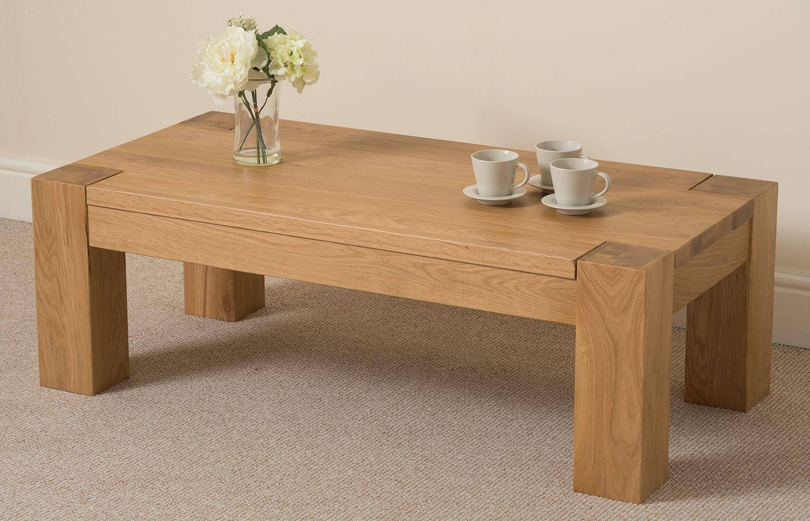 Kuba Solid Oak Large Coffee Table | Oak Furniture King pertaining to Oak Wood Coffee Tables (Image 10 of 15)