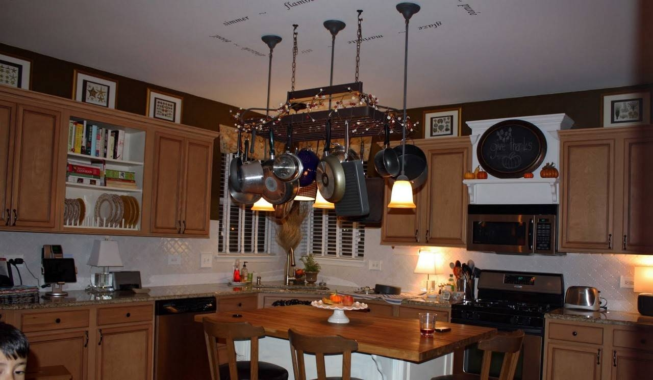 L Shape Kitchen Decoration Using Rectangular Black Iron Metal inside Kitchen Pendant Lights With Pot Rack (Image 14 of 15)