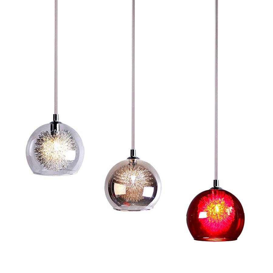 L2-1635 Vandm Meteor Wire Ball Glass Pendant Light 04991R-Italux in Wire Ball Lights Pendants (Image 7 of 15)