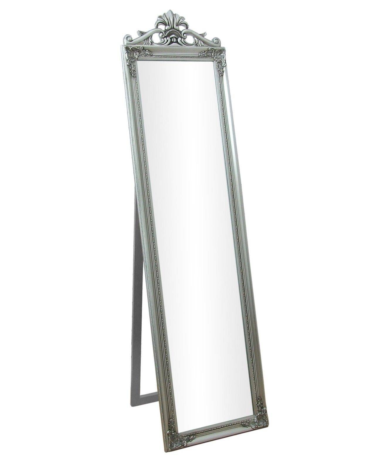 """Lambeth Large Silver Wood Frame Cheval Free Standing Mirror 18"""" X Pertaining To Free Standing Black Mirrors (View 11 of 15)"""