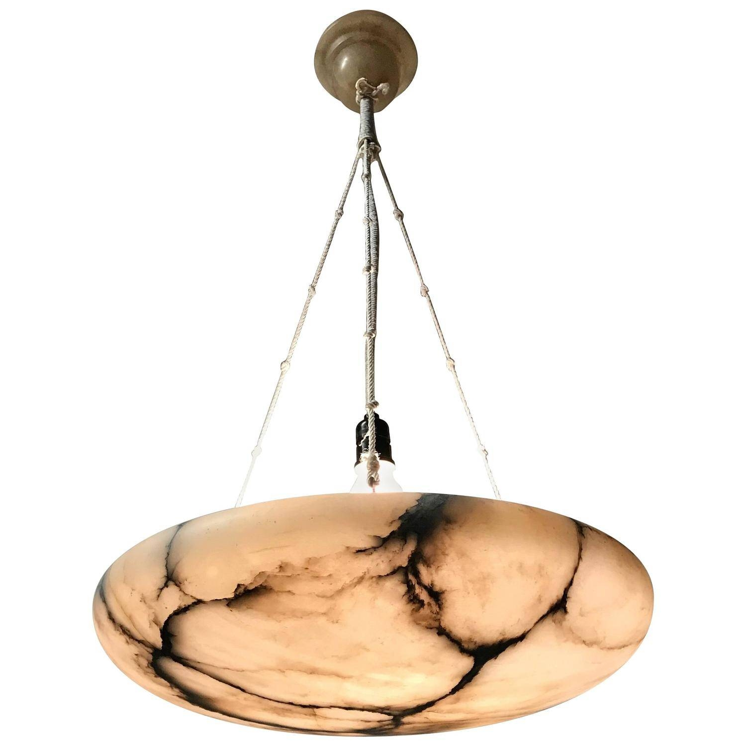Large 1920S Art Deco Alabaster Pendant And Ceiling Cap Great Shape throughout Alabaster Pendants (Image 5 of 15)