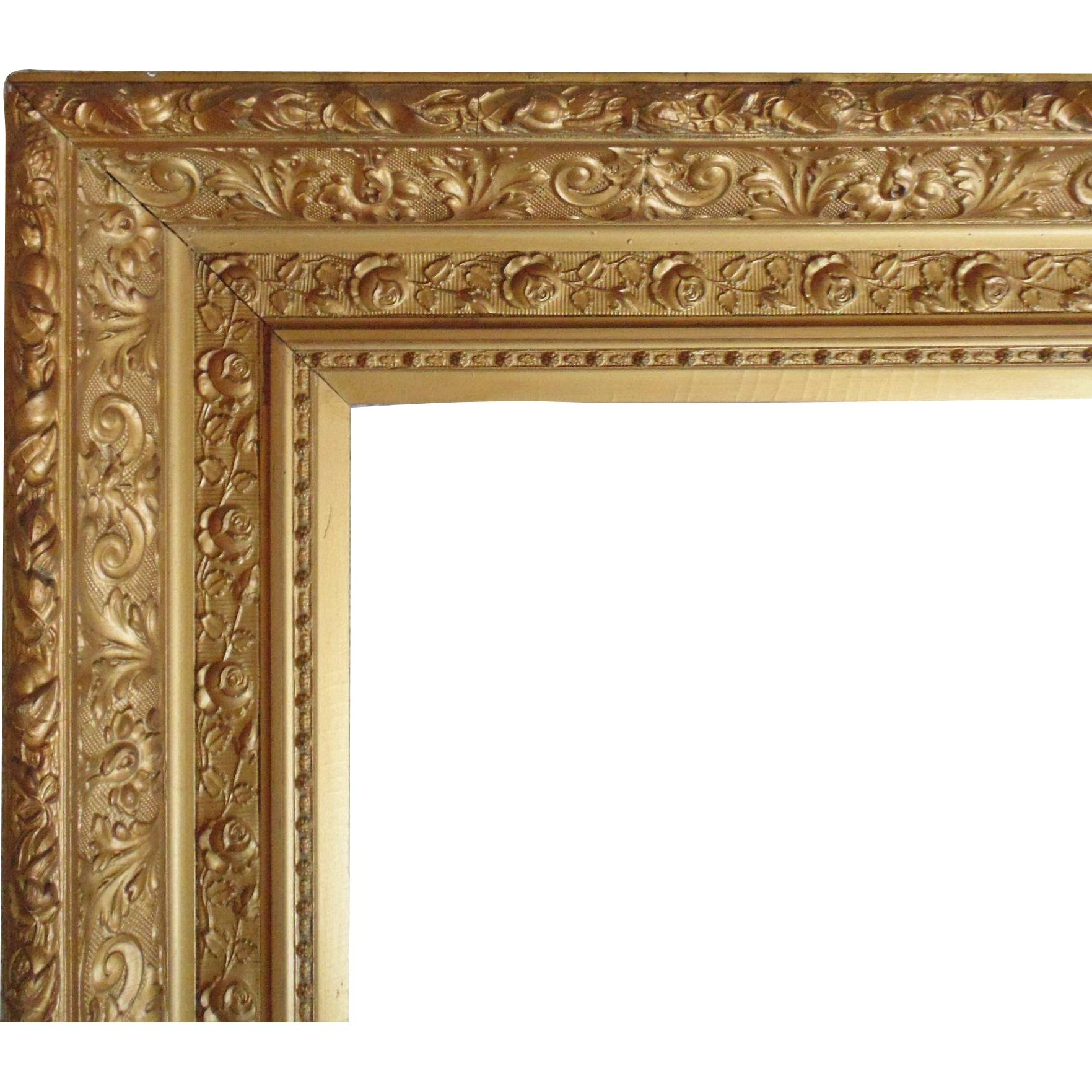 Large 19C Antique Picture Frame Gilt Wood & Gesso Victorian Roses with regard to Large Gold Antique Mirrors (Image 9 of 15)