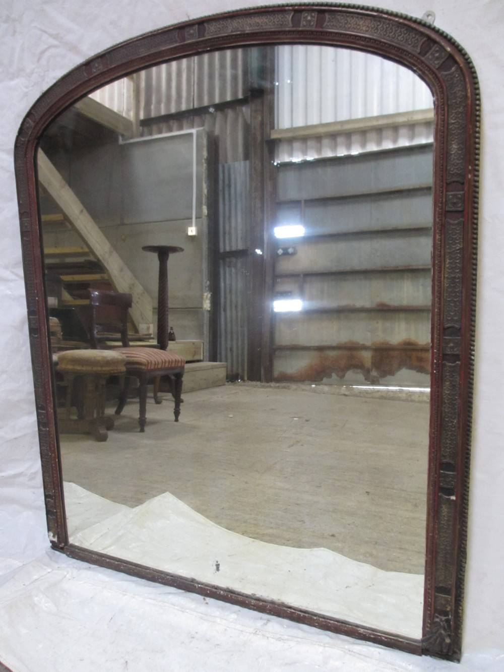 Large 19Th Century Gesso Moulded Frame Arch Top Overmantle Mirror intended for Large Mantel Mirrors (Image 9 of 15)