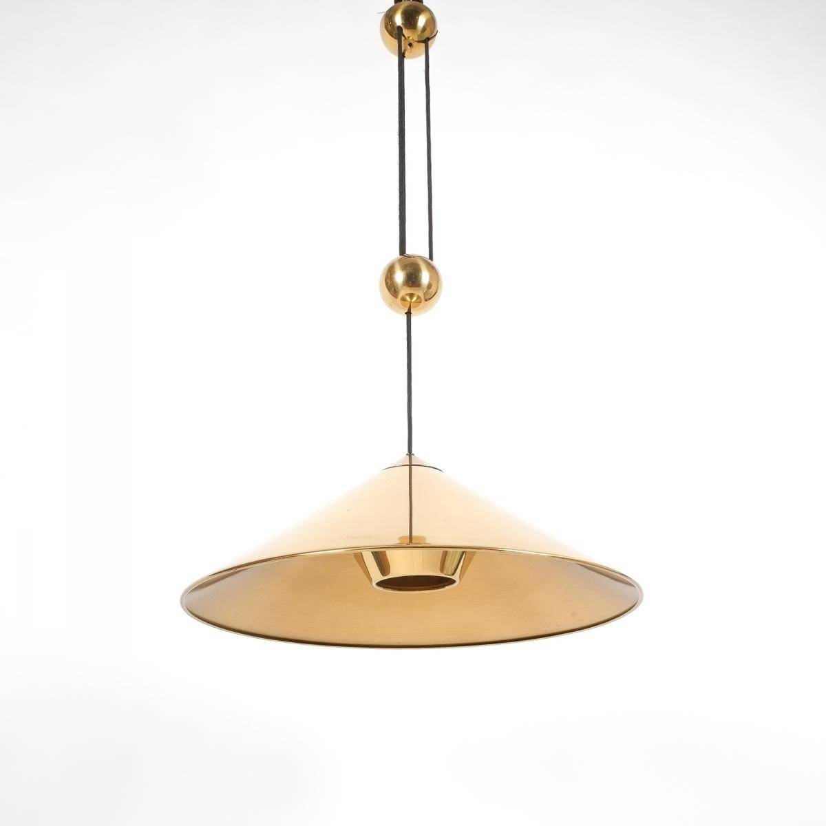 Large Adjustable Polished Brass Counterweight Pendant Lamp for Counterweight Pendant Lights (Image 11 of 15)